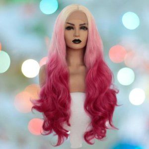 NEW Blonde Pink Wavy Synthetic Lace Front Wig